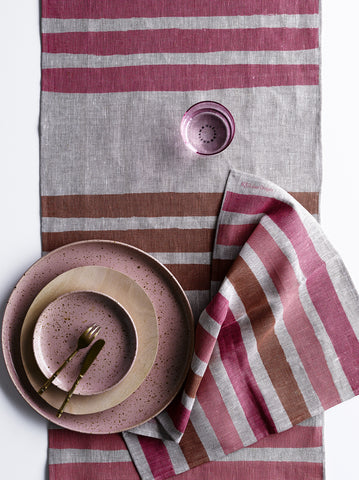 Rose, Blush & Dust Stripes linen table runner