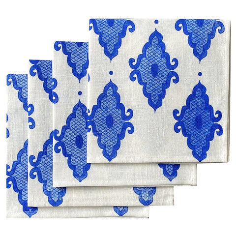Cobalt Arabesque linen napkins (set of 4)