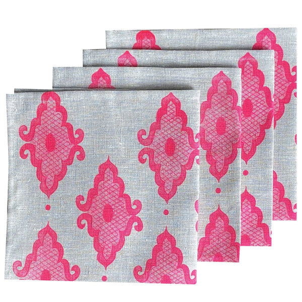 Neon pink Arabesque linen napkins (set of 4)
