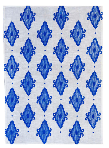 Cobalt Arabesque linen tea towel (Natural and off-white)