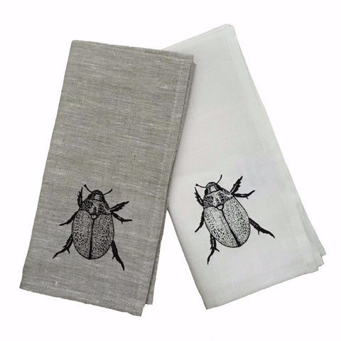 Black Christmas beetle linen napkins (set of 4)