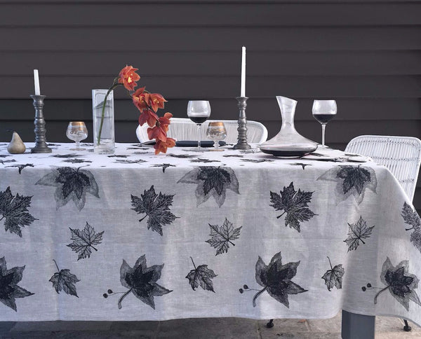 Black Leaves linen tablecloth
