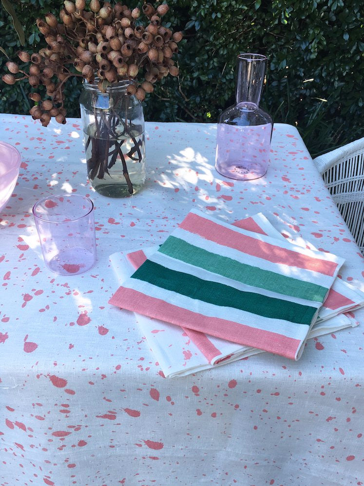 Blush Ink Splatter linen tablecloth