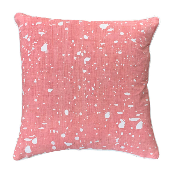 Blush with White Ink Splatters linen cushion cover