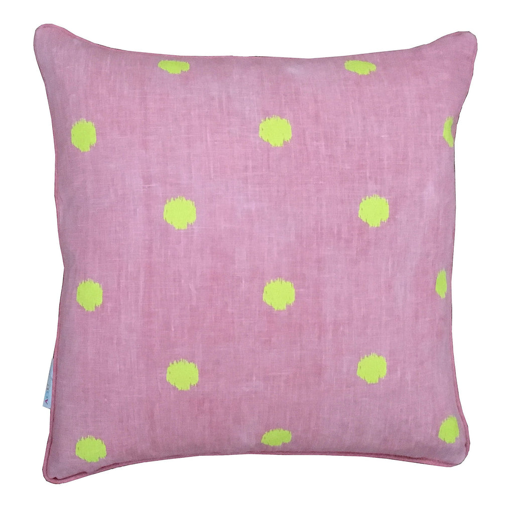 Neon yellow spots on blush linen cushion cover