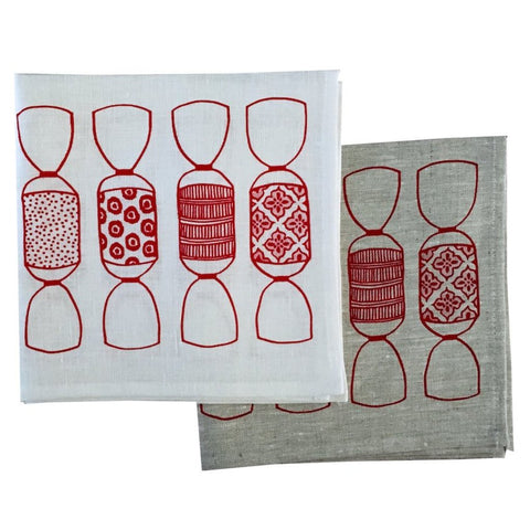 Red Bonbon linen napkins (set of 4)