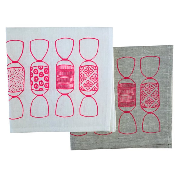 Neon pink Bonbon linen napkins (set of 4)