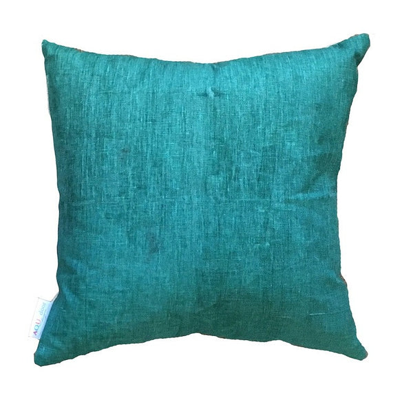 Forrest green printed linen cushion cover
