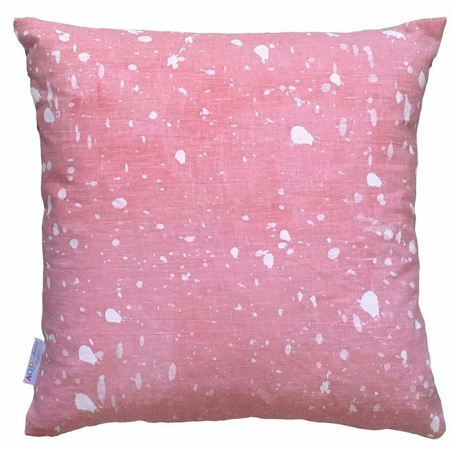 Blush Ink splatter linen cushion cover