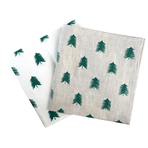 Green linen Christmas Tree napkins (set of 4)