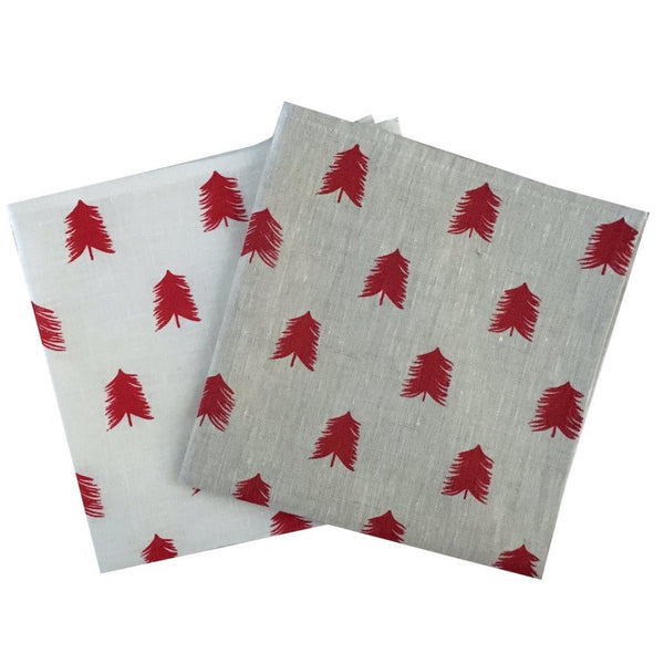 Red linen Christmas Tree napkins (set of 4)