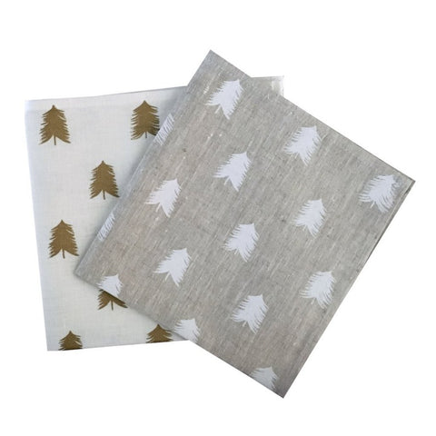 Gold or White linen Christmas Tree napkins (set of 4)