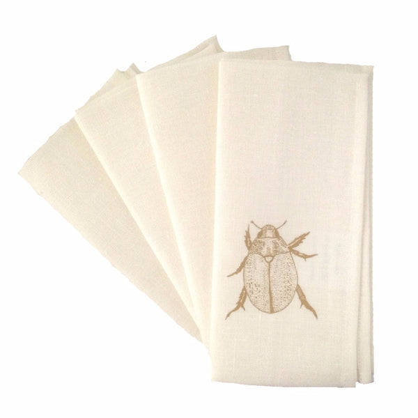 Gold Christmas beetle linen napkins (set of 4)