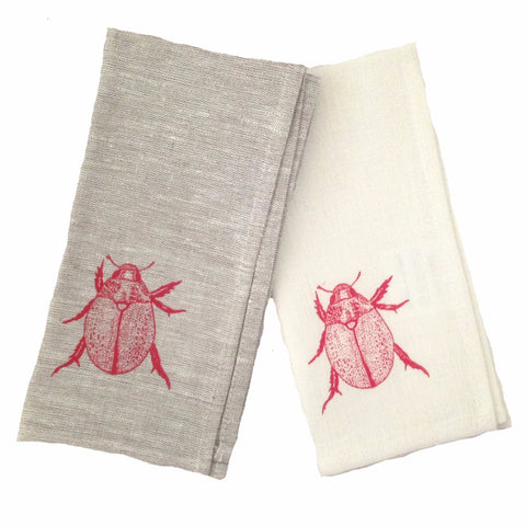 Red Christmas beetle linen napkins (set of 4)