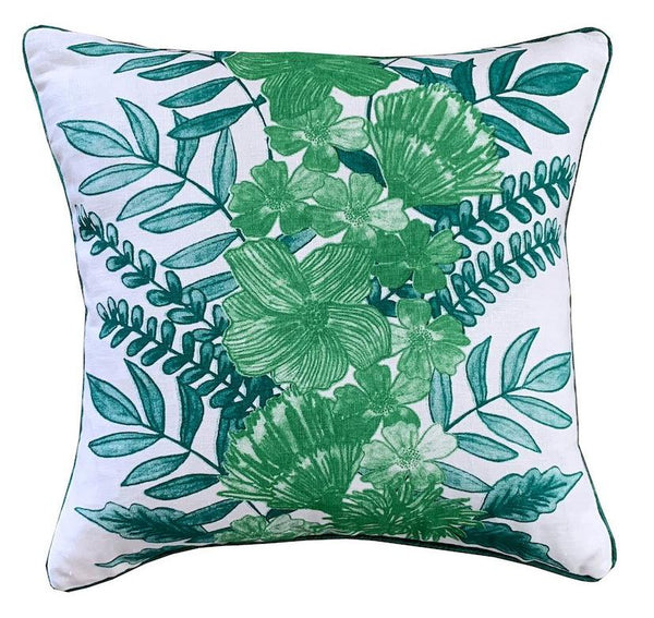 Green Floral Centrepiece linen cushion cover