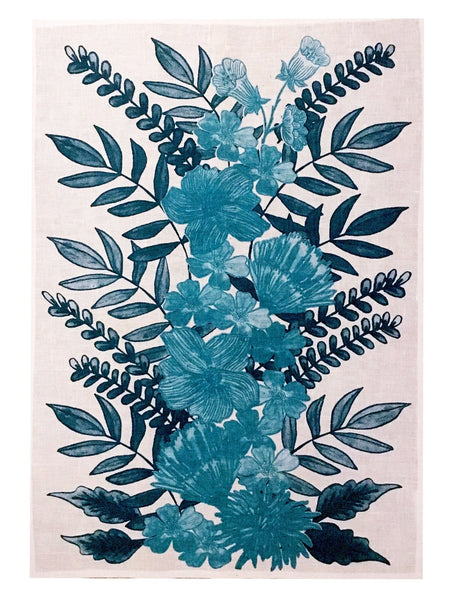 Blue Floral Centrepiece linen tea towel (Natural and off-white)
