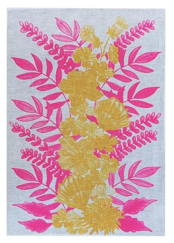 Neon Crimson & Yellow Floral Centrepiece linen tea towel (Natural and off-white)