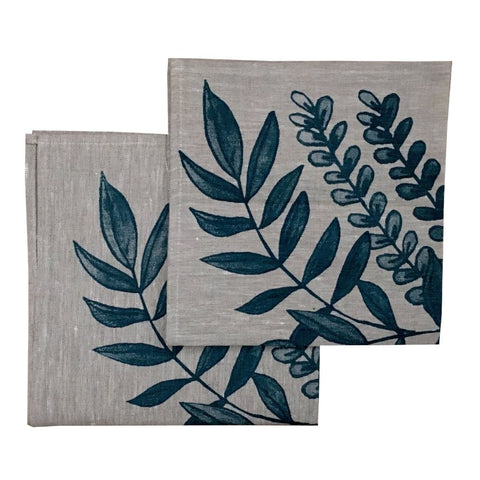 Blue Foliage linen napkins (set of 4)