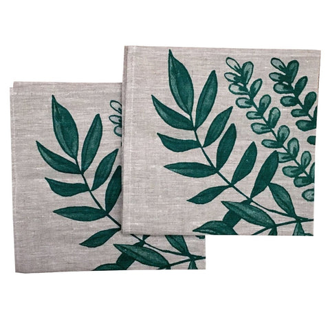 Green Foliage linen napkins (set of 4)