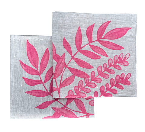 Pink Foliage linen napkins (set of 4)
