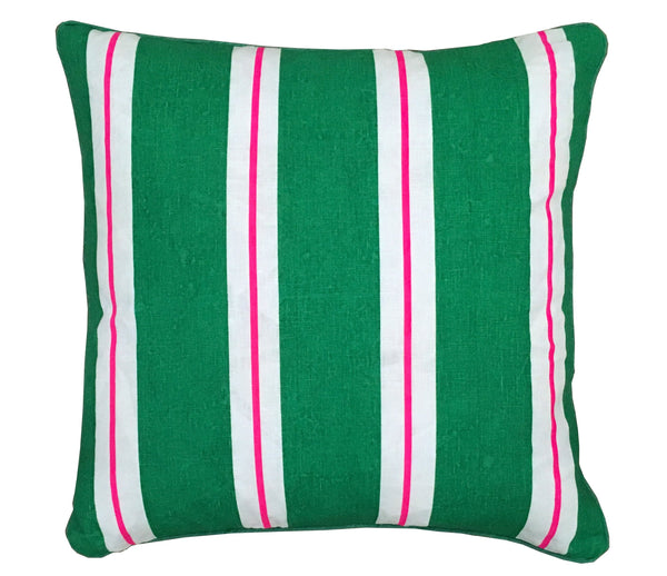 Green & Crimson stripe linen cushion cover (European size)