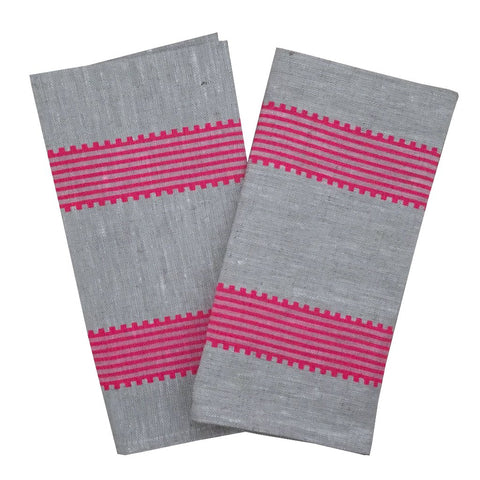 Neon pink Grosgrain stripe linen napkins (set of 4)