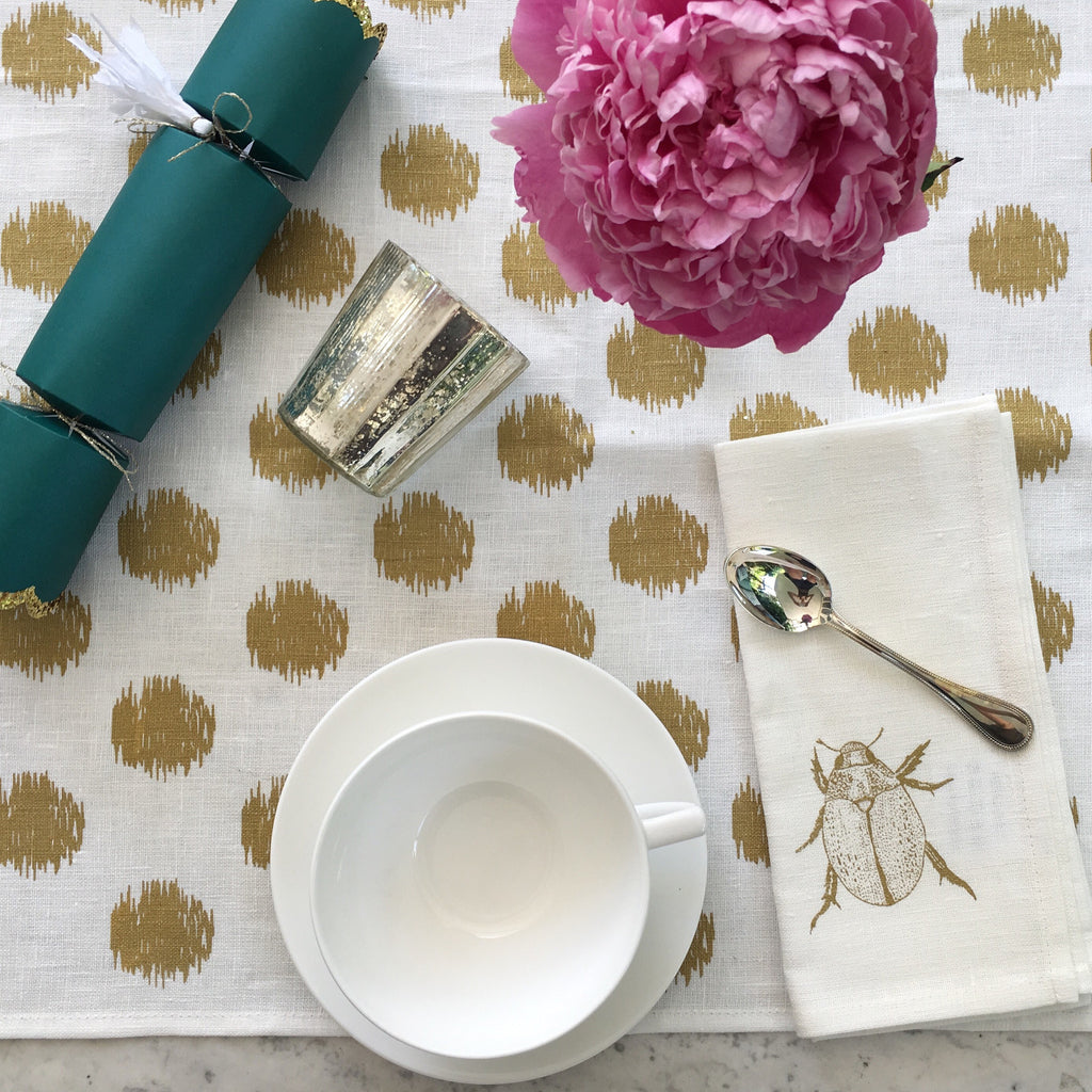 Gold ikat spot linen table runner