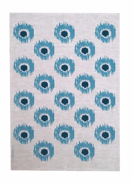 Cornflower & Ink Navy Ikat spot linen tea towel (Natural and off-white)