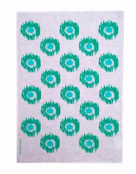 Green & Aqua Ikat Spots linen tea towel (Natural and off-white)