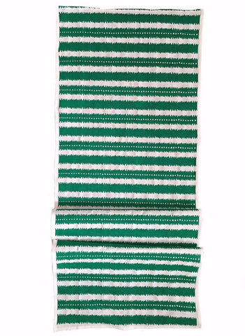 Green Jagged stripes linen table runner