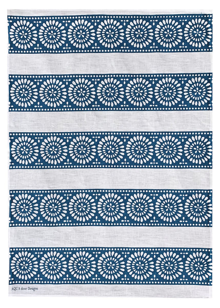 Blue Lace Stripe linen tea towel (Natural and off-white)
