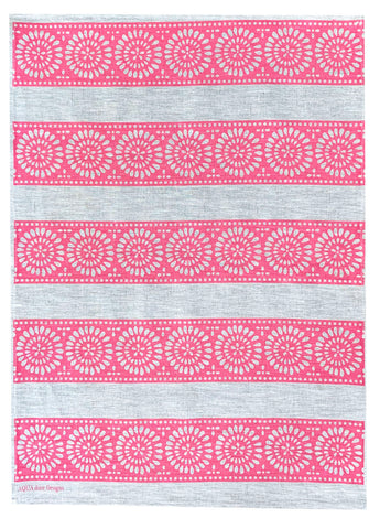 Pink Lace Stripe linen tea towel (Natural and off-white)
