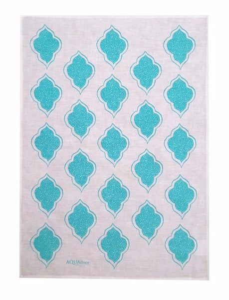 Aqua Lanterns linen tea towel