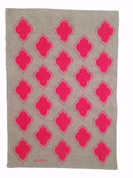 Neon pink Lanterns linen tea towel (Natural and off-white)