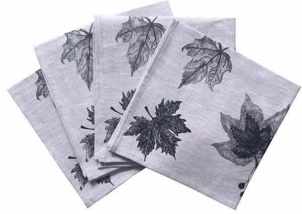 Black Leaves linen napkins (set of 4)