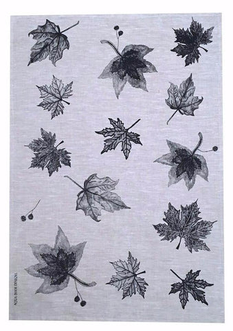 Black Leaves linen tea towel (natural or off-white)
