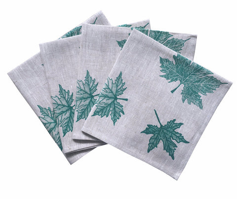 Green Leaves linen napkins (set of 4)