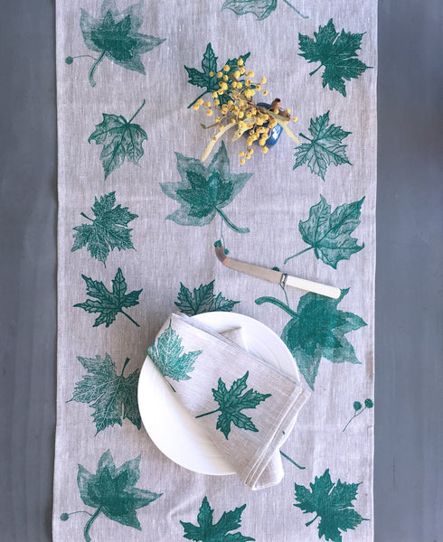 Green Leaves linen table runner