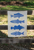 Cobalt Fish linen tea towel (Natural and off-white)