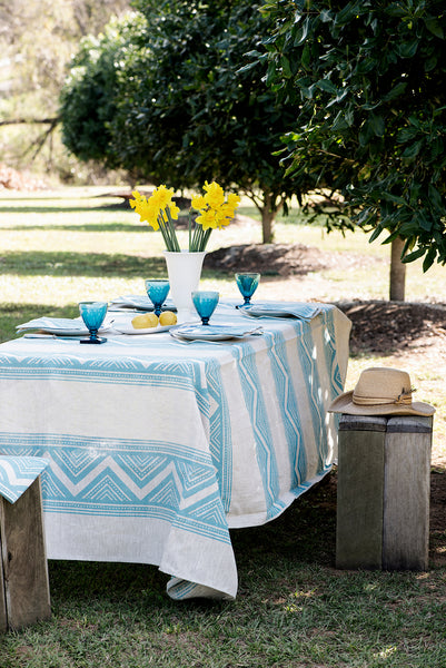 Light blue ZigZag linen tablecloth