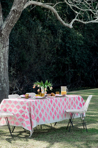 Neon pink Arabesque linen tablecloth