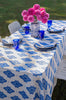 Cobalt Arabesque linen tablecloth