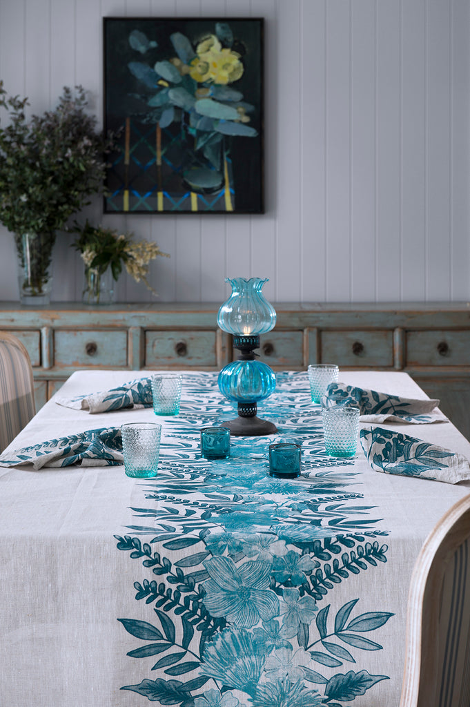 Blue Floral Centrepiece linen tablecloth