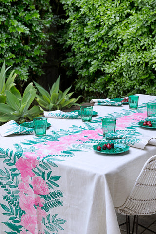 Green & pink Floral Centrepiece linen tablecloth