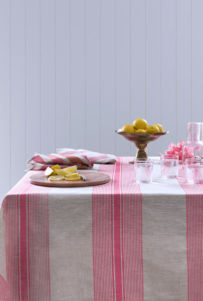 Rose pink Grosgrain stripe linen tablecloth