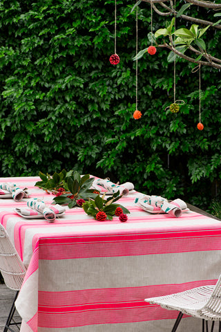 Neon pink Grosgrain stripe linen tablecloth