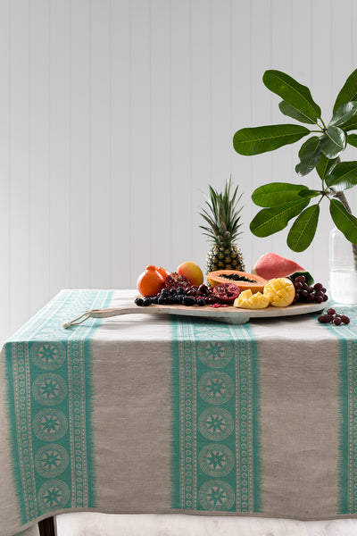 Aqua Gypsy stripe linen tablecloth