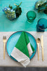 Aqua Colourblock linen tablecloth
