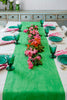 Green Colourblock linen tablecloth