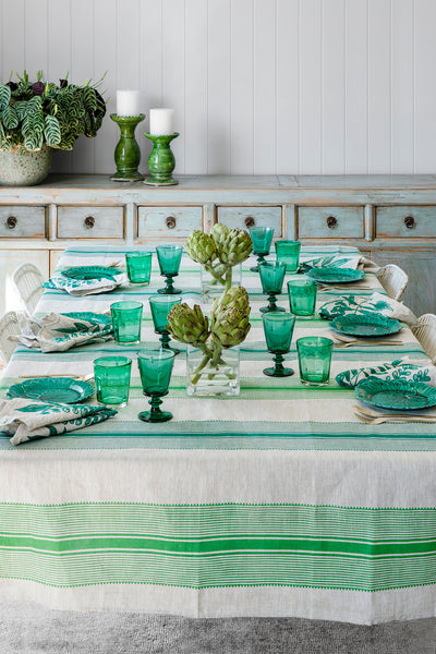 Green Grosgrain stripe linen tablecloth